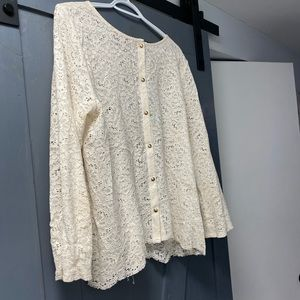 Loft: Ivory lace blouse with buttons down back